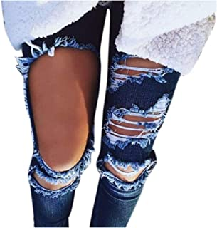 33779aac11 Kehen Hole Jeans Mid Waist Ripped Denim Skinny Women Ripped Destroyed Hole  Stretch Denim Skinny Jeans