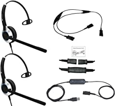 Deluxe USB Headset Training Solution (Includes 2 x TruVoice HD-500 Single Ear Noise Canceling Microphone Headsets, USB Cable with Mute and Volume Controls and a Training Y Cable)