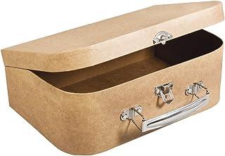 Rayher 67206000 Pappmaché Koffer, 24 x 16 x 8 cm, FSC zertifiziert, mit Metallgriff und Schnappverschluss, kleiner Koffer ...