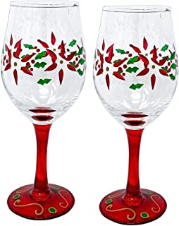 Best hand painted poinsettia wine glasses Reviews