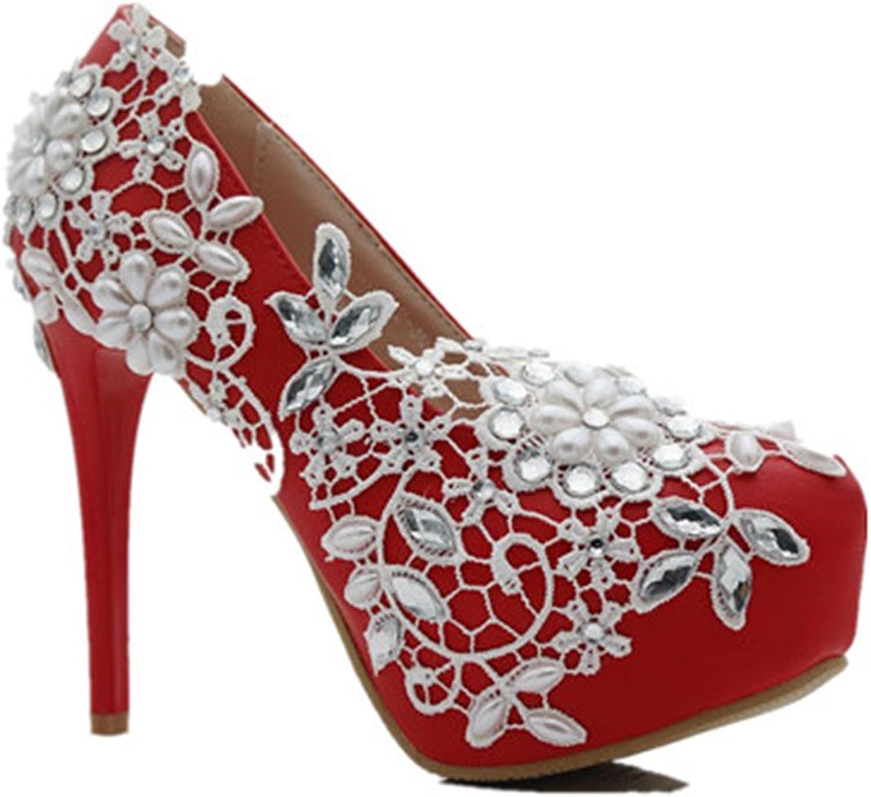 Eleganceoo Women's Beaded Lace High Heel Wedding shoes Platform Prom