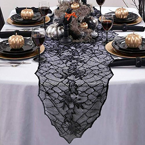 Lace Leaf Web Black Table Runner Halloween Decor