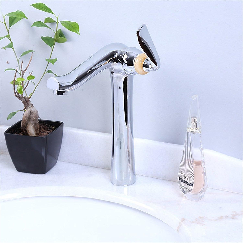 QIMEIM Wasserhahn Armatur Mischbatterie Waschtischarmatur Messing Warmes und kaltes Wasser 1 Bohrung der Einhebelsteuerung Badenzimmer Waschbecken Armatur