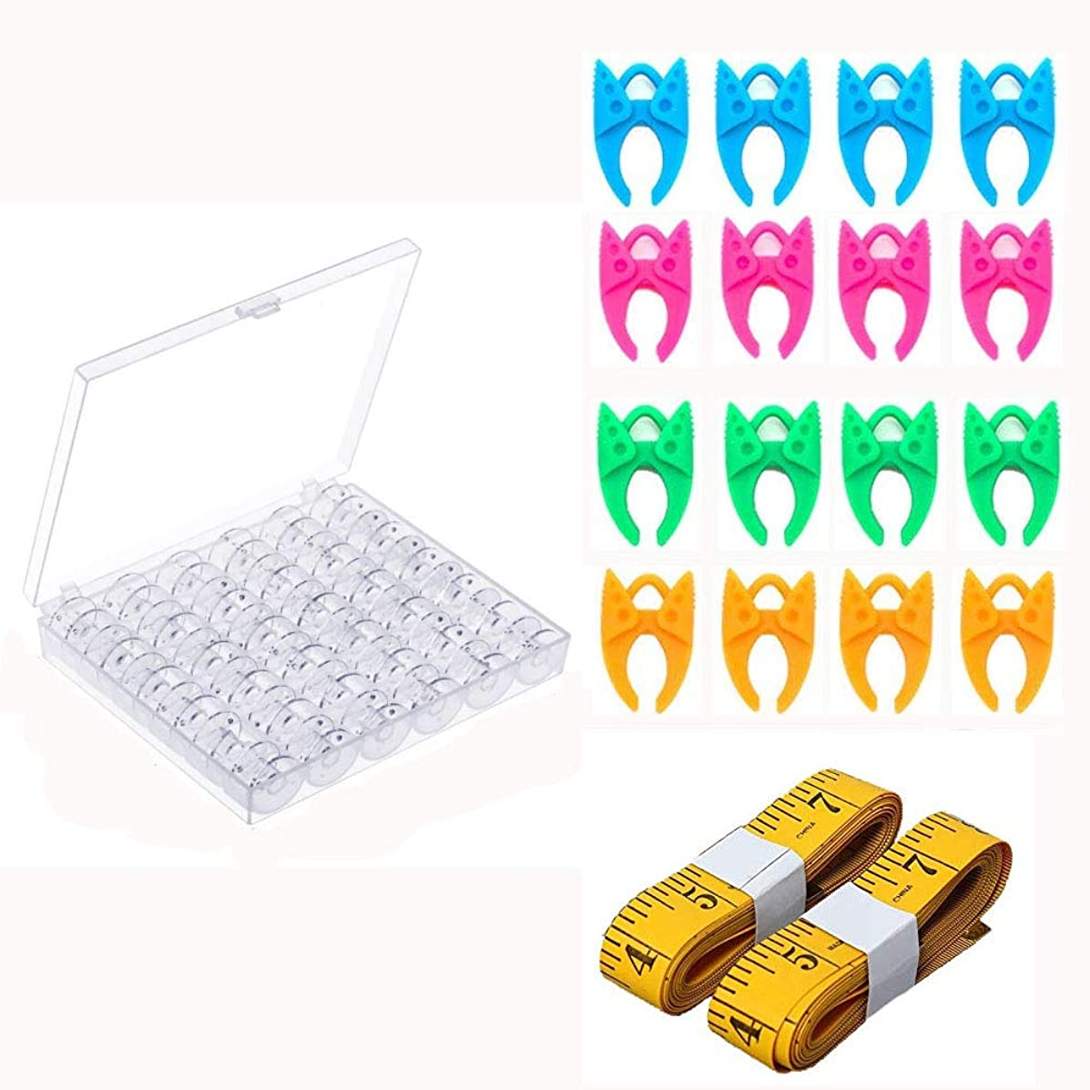Ohaha 36 Pcs Plastic Sewing Machine Bobbins with Case and Measuring Tape, Bobbin Clamps for Brother Singer Babylock Janome Kenmore