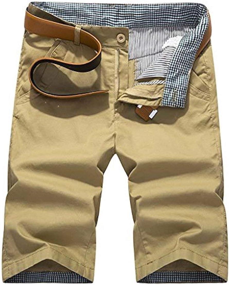 SOUGAO Men Cotton Shorts Outdoor Casual Work Shorts Zippered Slim Fit (No Belt)