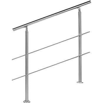 Barandilla acero inox 2 varillas 80cm Pasamanos escalera Parapeto: Amazon.es: Oficina y papelería