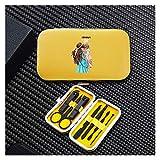 Set de manicura Chica 7pcs portátil de uñas Pedicura Viaje de Acero Inoxidable Trimmer Clippers Accesorios (Color : 8702 Yellow)