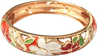 Colored Cloisonne Bangle Crystal Indian Gold Plated Hinge Bracelet Hollowed Enamel Jewelry Gifts 88A