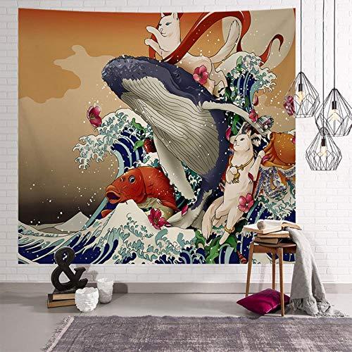 Manta japonesa gran tapiz ballena arowana dragón phoenix tótem colgante de pared manta de cama bohemia decoración del hogar tapiz