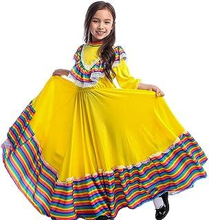 زي فتاة مكسيكية سينوريتا للأطفال من فساتين جاليسكو التقليدية الصفراء يوم الموتى زي حفلات الرقص الفوكلوري