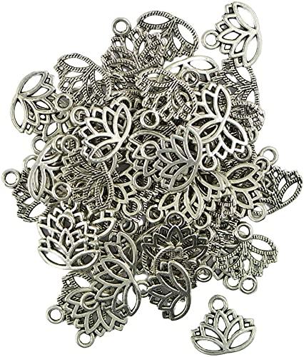 50 pièces en filigrane creux fleur de Lotus coupe pendentif breloques fabrication de bijoux résultatsDurable et professionnel