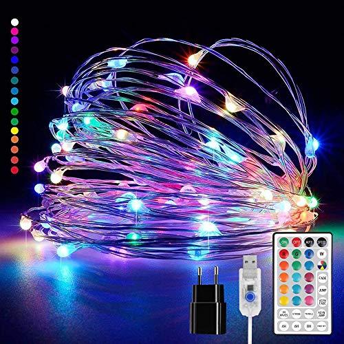 20M 200 LEDs luces de hadas multicolores, luces de hadas de alambre de cobre a prueba de agua IP65 16 colores 4 modos con control remoto, luces de ambiente ideales para decoración de bodas, balcón