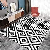 ZHOUAICHENG Zeitgenössische Wollteppich Indoor Outdoor Trellis Area Teppich Schwarz Weiß Diamond Area Teppich Modern Abstract Viele Größen erhältlich,140 * 200cm