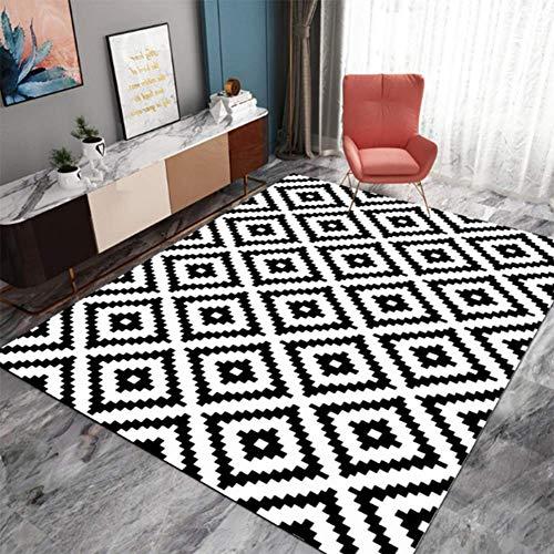 ZHOUAICHENG Zeitgenössische Wollteppich Indoor Outdoor Trellis Area Teppich Schwarz Weiß Diamond Area Teppich Modern Abstract Viele Größen erhältlich,200 * 300cm