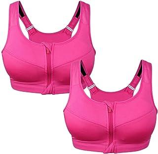 Sports Bras for Women, Large Size Adjustable Zipper Sports Bra, Ladies Thick Push-ups Wireless Yoga Bra, Gym Running Fitne...
