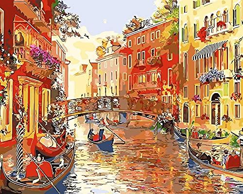 Xpboao Pintar por números - Barco Agua City Arch Bridge - Pintura de Arte Moderno - Kit de Pintura de Bricolaje Adecuado para Adultos y Principiantes - 40x50cm - Sin Marco