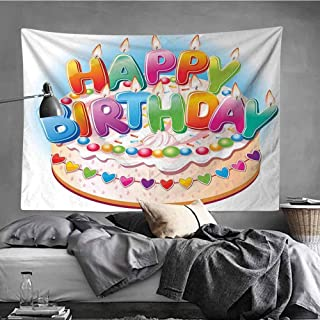 MikiDaHome Birthday Decorations for Kids Tapestry Wall Hanging Tapestries Cartoon Happy Birthday Party Image Cake Candles Hearts Print Wall Tapestry for Home Decor, 59