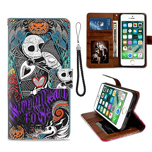 DISNEY COLLECTION Apple iPhone 8/iPhone 7/iPhone SE 2020 [4.7 Inch] Wallet Case Jack Skellington Nightmare Before Christmas Sally Halloween Simply Meant to Be
