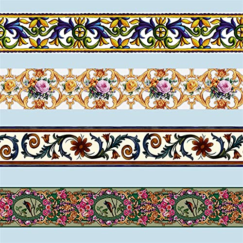 Frontera de fondo de pantalla, 10M autoadhesivo Tótem Floral Wall Etiqueta de la cintura Línea de pantalla Fronteras Pegatinas Decoración para el hogar Decoración de azulejos de vidrio Papeles de deco