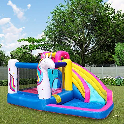 YINGZU Parque de Atracciones de Agua Castillo Inflable niños Estiramiento hogar Cama de Agua Parque de diversiones con Subir de la Pared del aro de Baloncesto Splash Pool