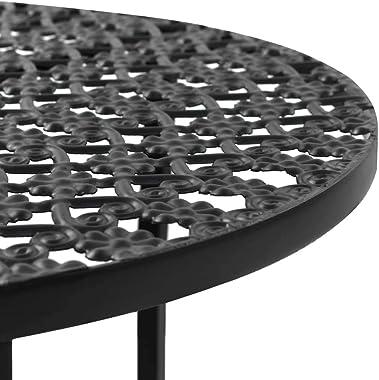 vidaXL Table de Bistro Style Vintage Ronde Métal Noir Table de Bar Cuisine