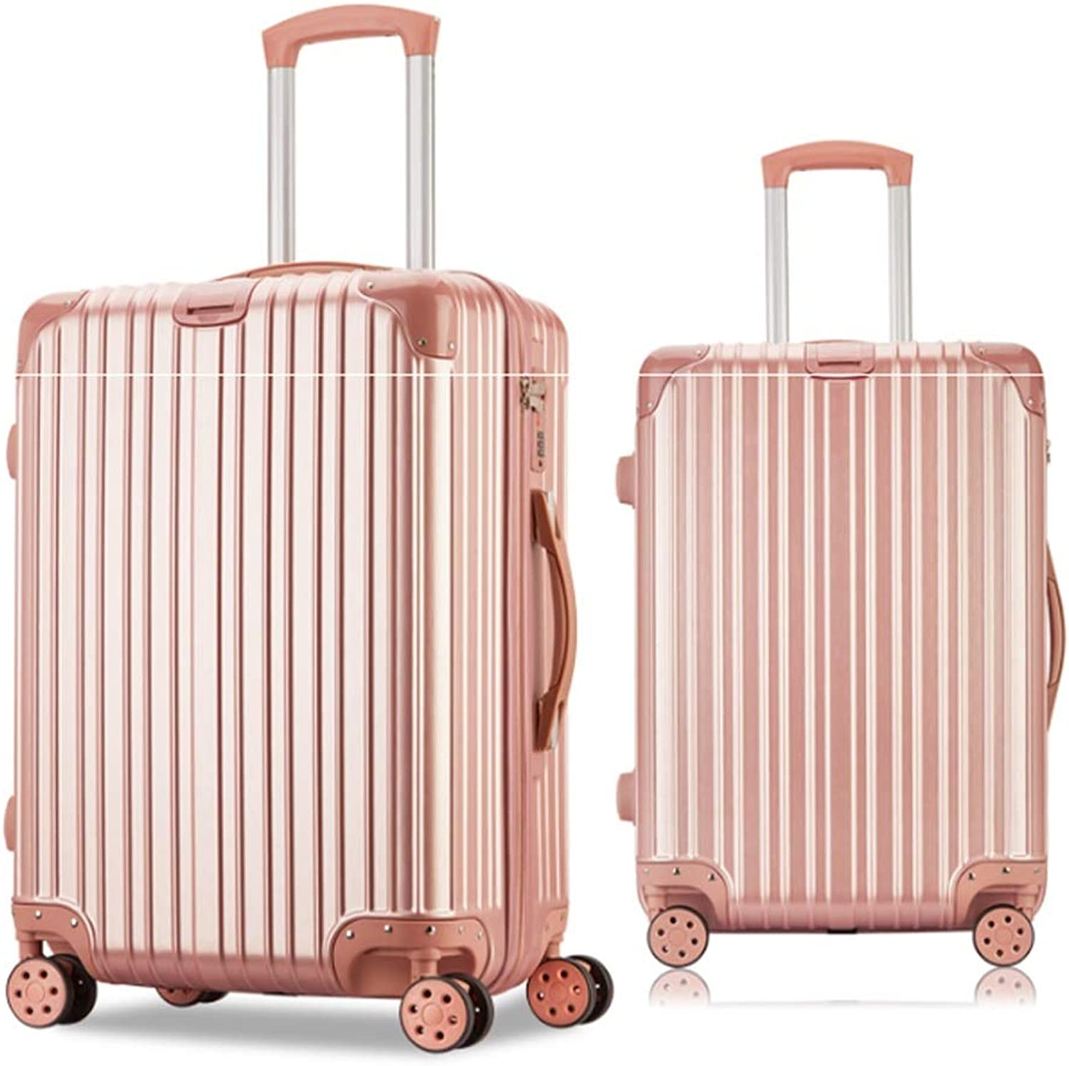 8haowenju Fashion Aluminum Frame Box Men And Women Suitcase Universal Wheel Student Trolley Case 20 Inch Suitcase (color   Pink)