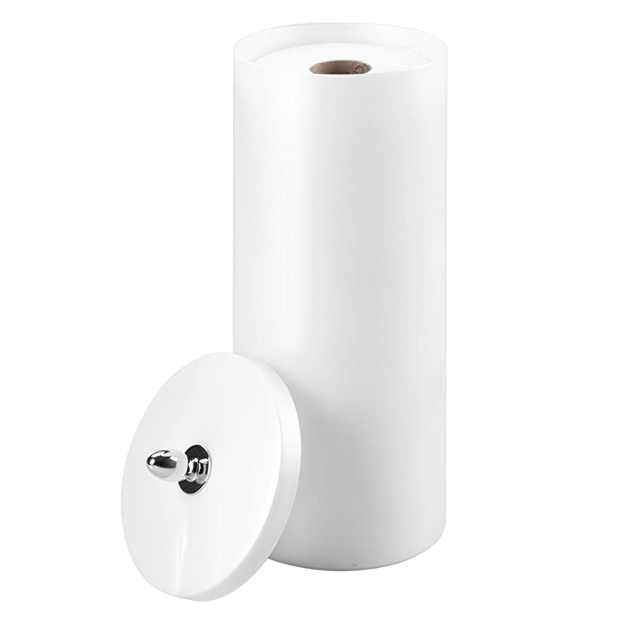 InterDesign Orb Free Standing Toilet Paper Holder – Spare Roll Storage for Bathroom, Pearl White/Chrome (87040)