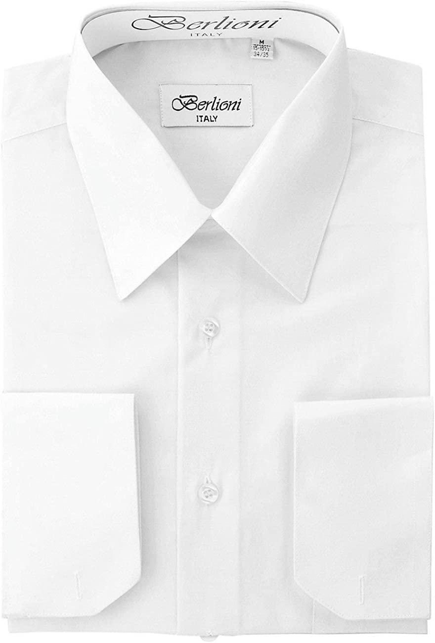 Berlioni Men's White Solid Dress Shirt