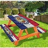 LEWIS FRANKLIN - Cortina de ducha americana de lujo para picnic, mantel, borde elástico de Missouri State Justice, 70 x 72 pulgadas, juego de 3 piezas para mesa plegable