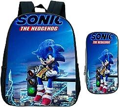 Sonic schoolrugzak set 2-delig. Schooltas pennenetui, ideaal voor basisschool, rugzak anime-patronen, A8., Large,