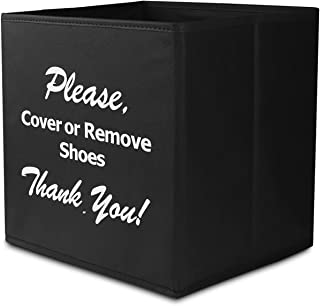 Shoe Covers Box, Opret Foldable Shoe Covers Holder Bootie Box Disposable Shoe Covers Box for Realtors and Open House(Black)