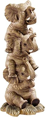 Design Toscano NG33769 Hear-No, See-No, Speak-No Evil Stacked Elephants Collectible Statue, Single