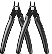 BOENFU Flush Cutter, Side Cutting Pliers, Internal Wire Spring,Zip Tie Cutter 5 Inches, Black - 2 Pack