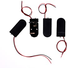 Mini Skater 2 x 3V CR2032 Spring Clip Black Plastic Button Cell Coin Battery Holder Case with 6 Inch Wire Lead ON-Off Switch.(Black,4 Pcs)