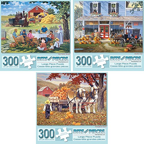 Bits and Pieces - Set of Three (3) 300 Piece Jigsaw Puzzles for Adults - Classic American Country Scenes - 300 pc Jigsaws by Artist John Sloane