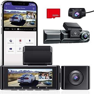 AZDOME 3 Linse Dashcam 1440P + Dual 1080P Autokamera mit 4K 3840x 2160P Vorne, WiFi, GPS, Super Nachtsicht, Parküberwachung, Loop Aufnahm, WDR, G Sensor, 3.19Zoll IPS Bildschirm für Uber Taxis (M550)