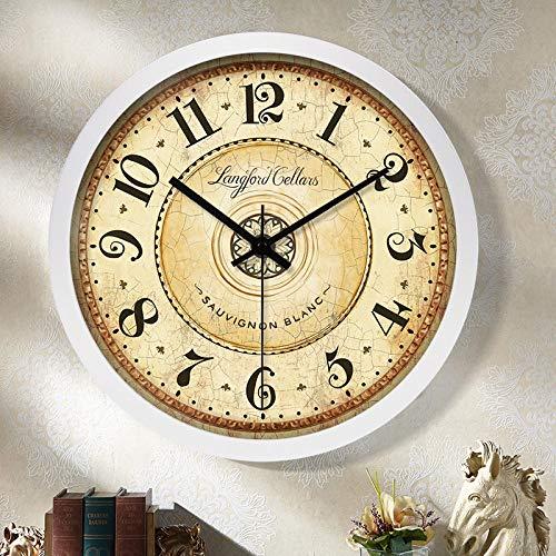 fangsanxi Reloj De Cuarzo para Sala Reloj Americano Reloj De Pared Nórdico Sala De Estar Mudo Reloj De Cuarzo Mudo Onda Eléctrica Moda Reloj Creativo Dormitorio Cuadros De Pared para El Hogar
