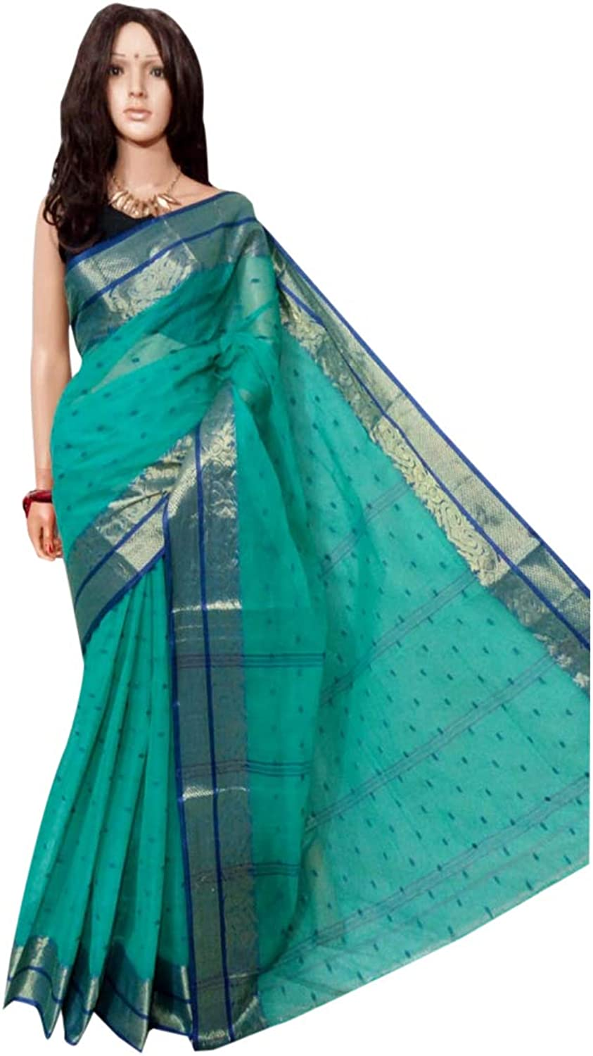 bluee Indian Ethnic Pure Cotton tant Sari small print work Beautiful Border work Women saree Festive offer 102A