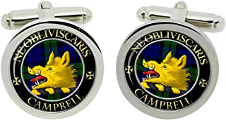 Scottish Clan Surname Campbell of Argyll Crest Cufflinks with Gift Box
