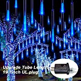 JMEXSUSS Blue Meteor Shower Rain Lights Outdoor 50cm 8 Tubes 288 LED Falling Rain Lights, Icicle Snow Cascading Fairy String Lights for Halloween Christmas Holiday Party Patio Decoration