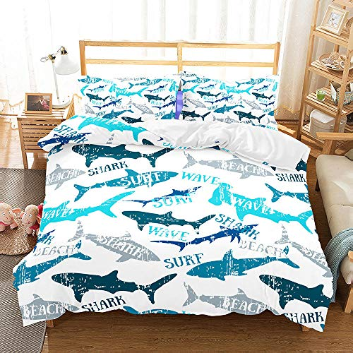 Bettwäsche 135x200 Kinder Blauer Hai Bettbezug Set Mikrofaser mit Reißverschluss mit je 1 Bettdeckenbezug & 1 Kissenbezug 80x80