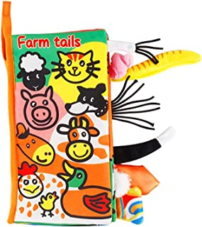 Baby Tail Cloth Book Farm Animals Crinkle Soft Cloth Books Learning Animals Colors Touch & Feel Sensory Book Educational A...