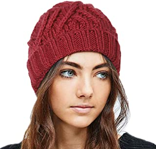 بوهيند شتاء محبوك قبعة صغيرة دافئة قبعة صغيرة لينة تمتد كابل اكسسوارات الشعر للنساء والفتيات أصفر، أحمر