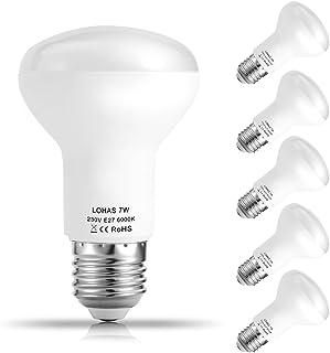LOHAS® R63 7W E27 Reflectoras LED Bombillas, Equivalencia incandescente 60W, Bombillas LED, 560lm, 6000k Blanco frío, Luz amplia 120°, 220-240 V AC, Pack de 5