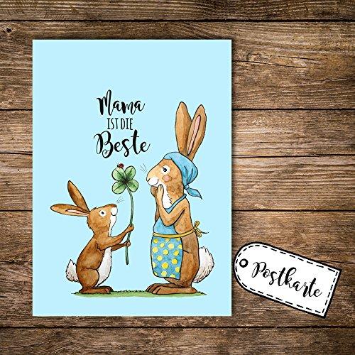 ilka parey wandtattoo-welt® A6 Postkarte Ansichtskarte Flyer Print Muttertag Häschen mit Kleeblatt und Spruch Mama ist die Beste pk104