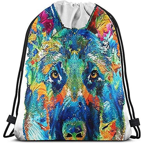 Dingjiakemao Rugzak Opslag, Kleurrijke Duitse Herder Hond 3D Print Trekkoord Rugzak Rugzak Schouderzakken Gym Bag Voor volwassenen 36X43Cm