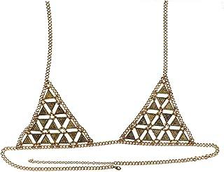 FemNmas Multi Tassel Gold Metal Bra Body Chain for Women