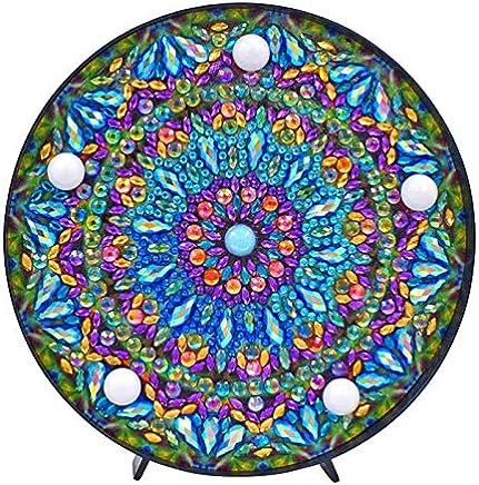 SODIAL 5D DIY Mandala Full Drill Diamond Painting Light Lamp Rhinestone Embroidery Special Shape Drill Led Diamond Painting Lamp