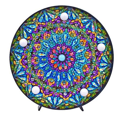 Gaoominy 5D Diy Mandala Luz de Pintura de Diamante de Taladro Completo Lámpara Diamante de Imitación Bordado de Forma Especial Taladro Led Lámpara de Pintura Diamante