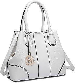 Miss Lulu Handtasche Top Handle Tasche Henkeltasche Damen Elegant Henkeltasche Schultertasche (Weiß)
